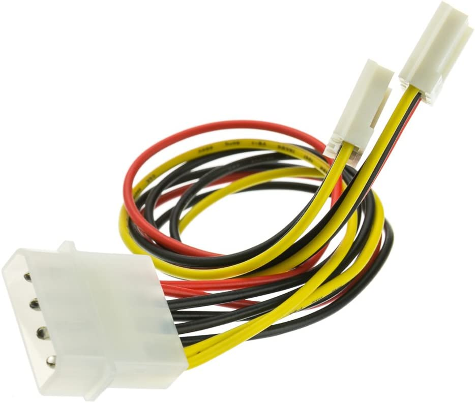 5.25 inch 5 Pack 3.5 inch ACL 8 Inch 4 Pin Molex Male to Dual Floppy Female Power Cable