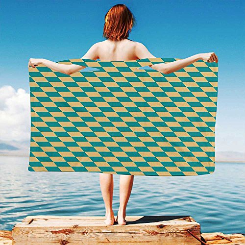iPrint Geometric Quick Dry Plush Microfiber (Towel+Square Scarf+Bath Towel) Art Deco Style Chess Table Dart Like Horizontal Vintage Image and Adapt to Any Place