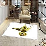 Arabian Door Mat indoors Aladdin`s Magic Genie Lamp Wish Mystery Magic Wonder Adventure Story Inspired Art Bath Mat Bathroom Mat with Non Slip 30''x48'' Gold White
