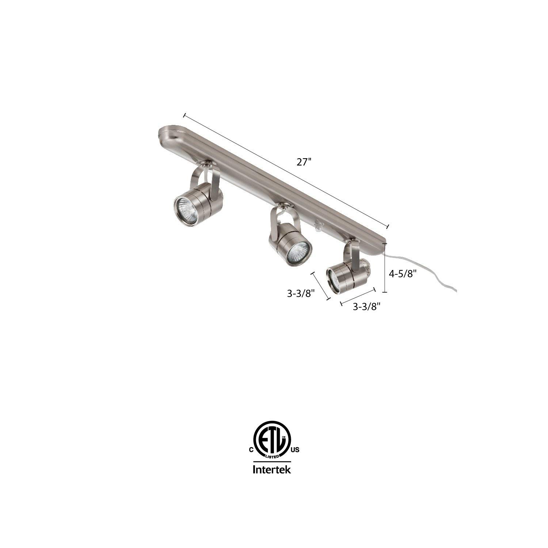 Lithonia Lighting LTKMSBK MR16GU10 3L BN M4 Adjustable 3-Head Halogen Line Voltage Fixed Track 120 Volts 480 Lumens//Head 50 Watts Dry Listed Brushed Nickel