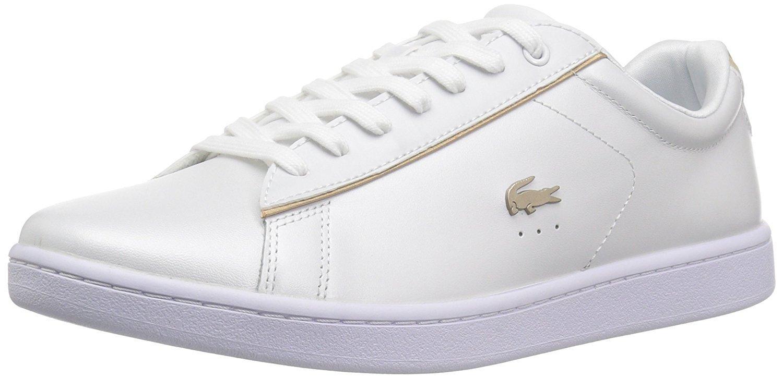 e0c3813a90a68 Galleon - Lacoste Women s Carnaby EVO 118 6 SPW Sneaker White Gold 9.5 M US