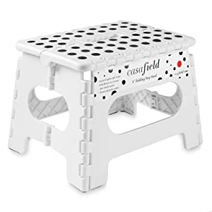 """Casafield 9"""" Folding Step Stool with Handle, White - Portable Collapsible Small Plastic Foot Stool for Kids and Adults - Use in The Kitchen, Bathroom and Bedroom"""