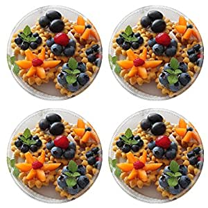 MSD Natural Rubber Round Coasters IMAGE 21951620 Fresh delicious fruit tarts with cream and berries on a plate