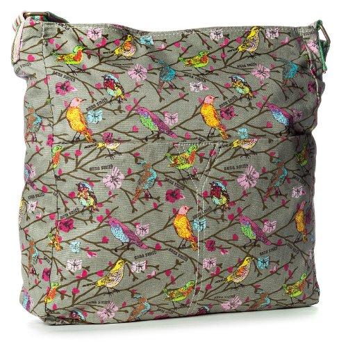 BHBS Bolso para Dama Tipo Mensajero en Tela de Loneta con Estampado de Pájaros para Cruzar 32x35.5 cm (LxA) Gris - gris oscuro