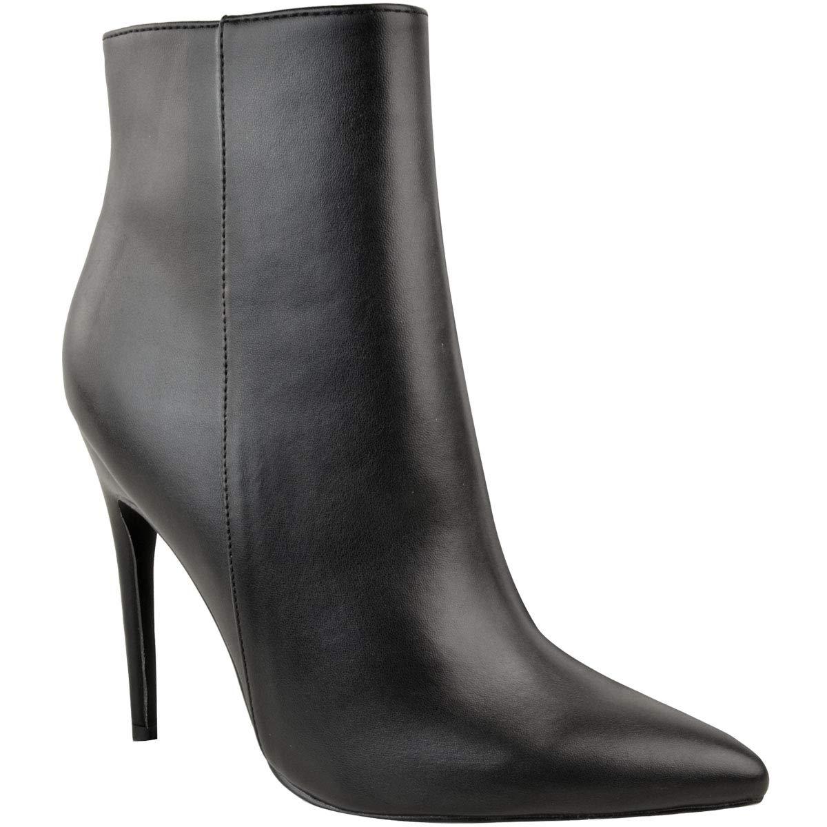 Fashion Thirsty Heelberry Mujer Elegante Oficina Botines Negros Sexy Tacón de Aguja Cremallera: Amazon.es: Zapatos y complementos