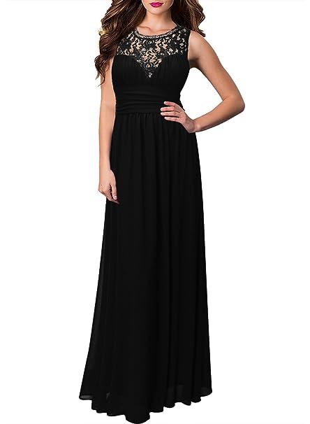 5bd1af1bd3c2 MIUSOL Estete Donna Vestito Lunghe Elegante Senza Maniche Pizzo Vestiti da  Sera  Amazon.it  Abbigliamento