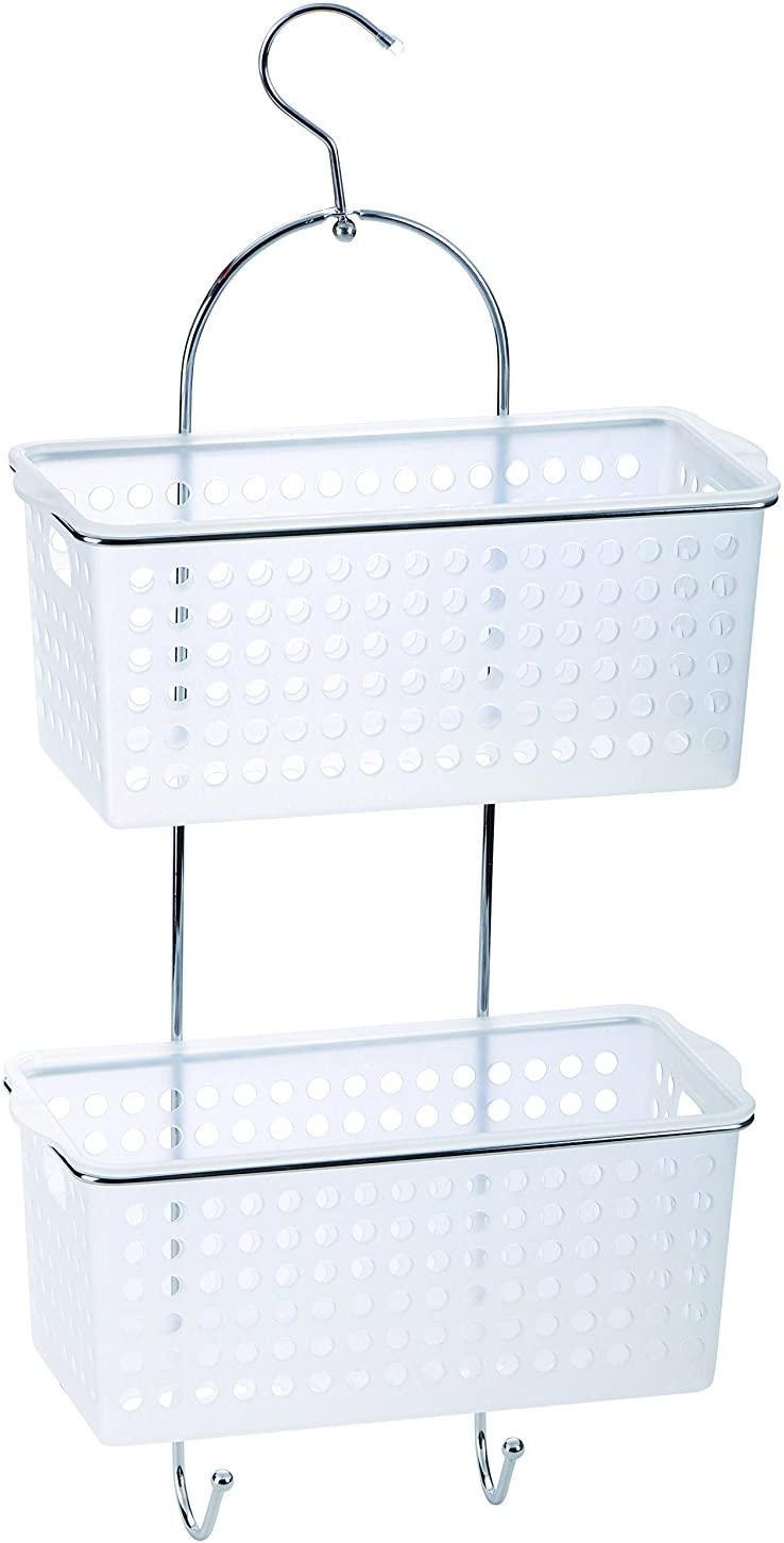 New 2 Tier Large Hanging Bathroom Organiser Unit Shower Rack Storage Caddy With Plastic Extra Deep Baskets by Deco