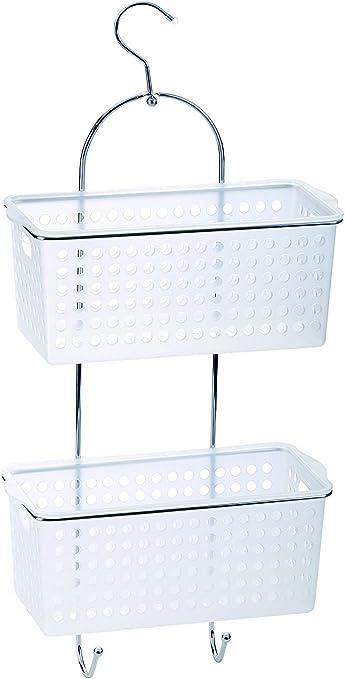 De 2 niveles para baño organizador de ducha para colgar unidad de tamaño grande para cesta de almacenaje de plástico con cestas de profundo: Amazon.es: Hogar