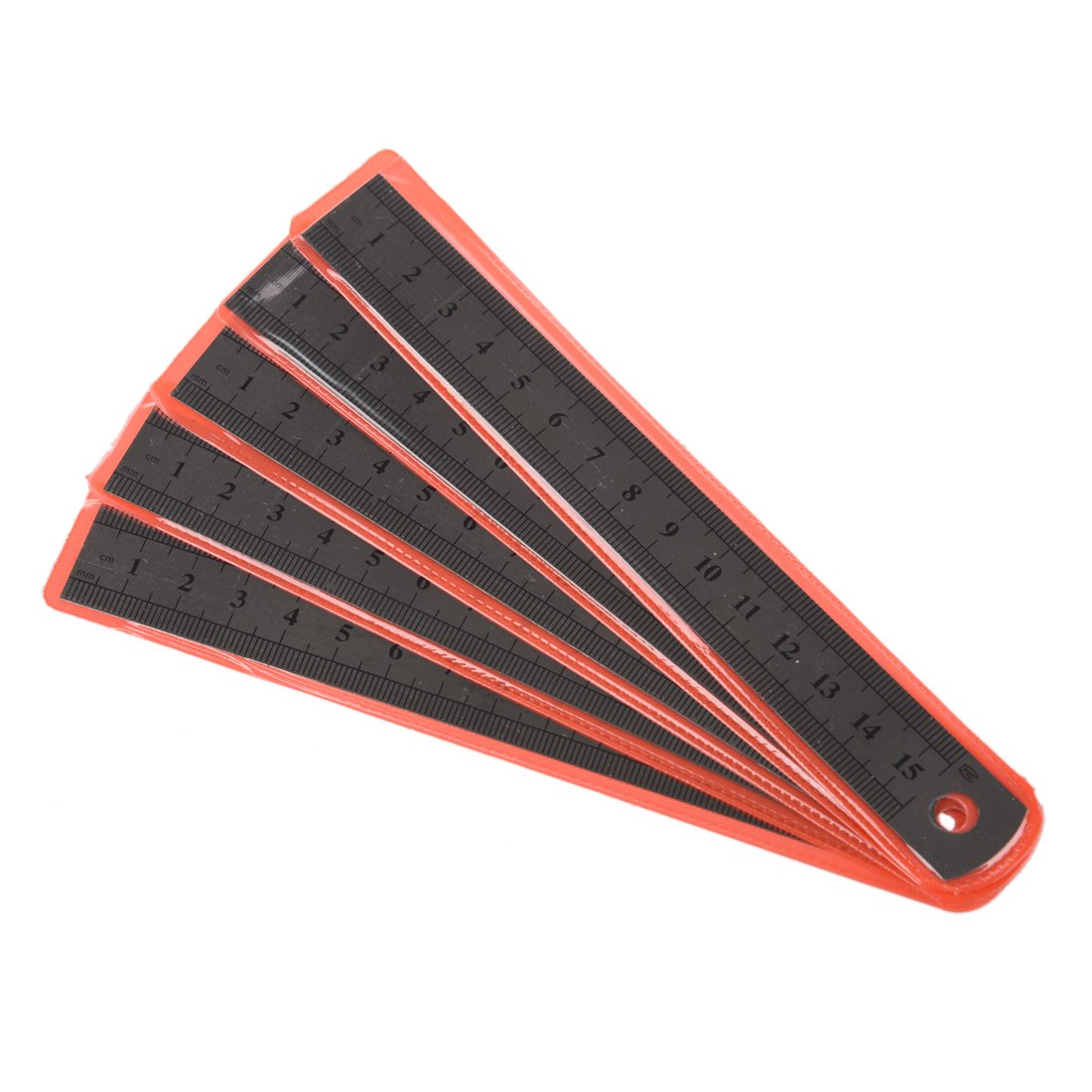 SODIAL R Regla de acero inoxidable 5pzs Regla recta de acero inoxidable 6 pulgadas 15 cm marcado de doble lado