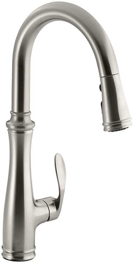 kohler k 560 vs bellera pull down kitchen faucet vibrant stainless steel - Pull Down Kitchen Faucet