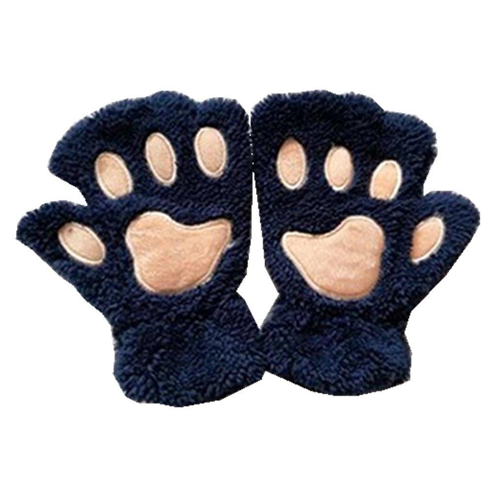 Cute Cat Bear Paw Fingerless Faux Fur Plush Gloves for Women by Einfachheit Enifachheit
