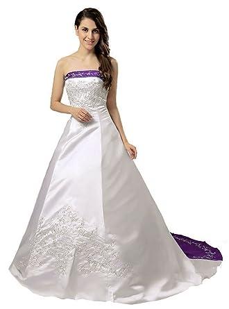 Okdress Womens Strapless A Line Embroidery Satin Wedding Dresses
