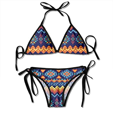 Hipiyoled Bikini para Mujer Estilo étnico Abstracto Patrón ...