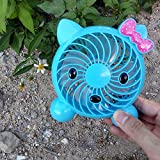 Portable USB Mini Lovely Fan, Desktop Desk Fan with Great Grabbing, 2 Shift Table Fan (Blue)