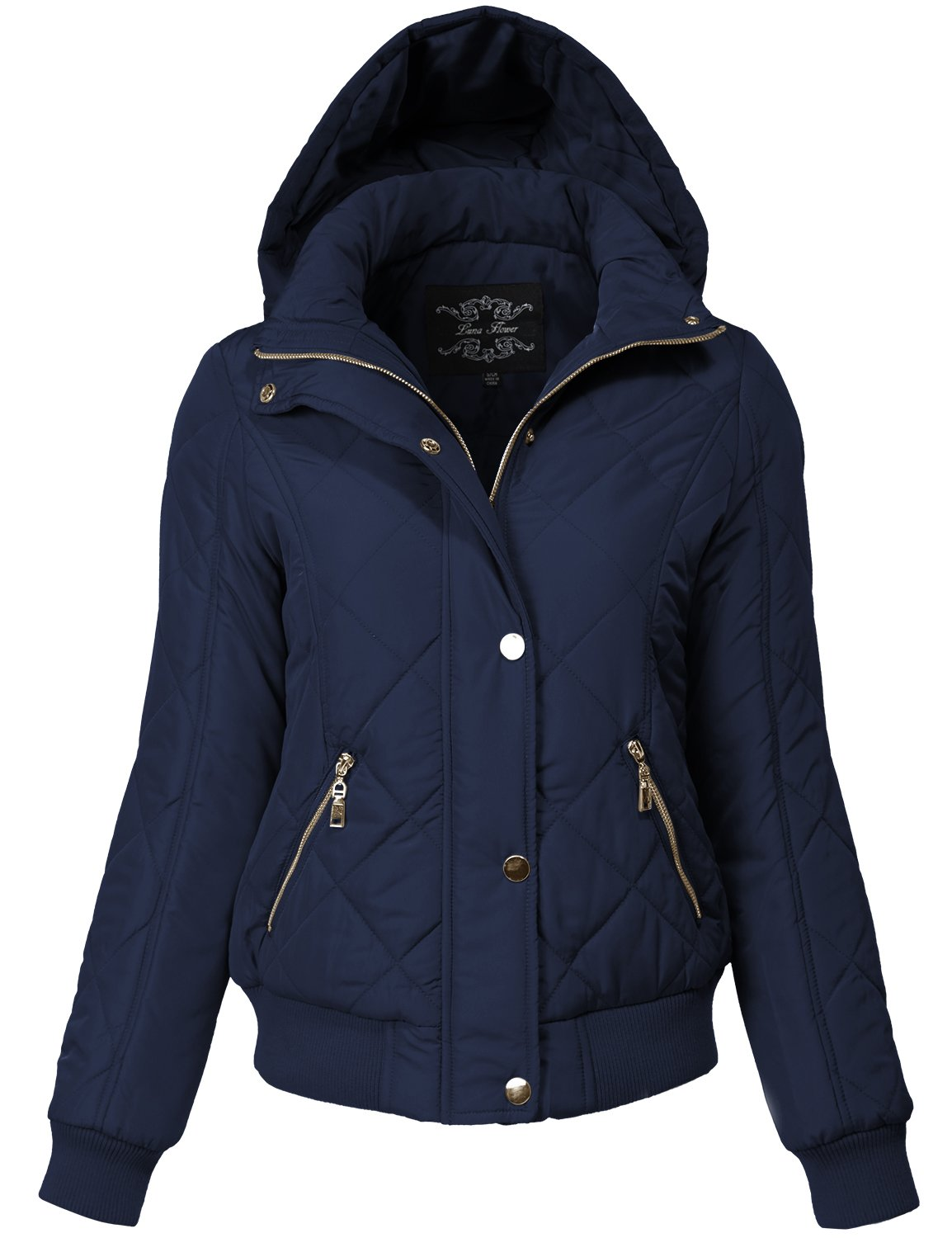 Warm Regular Fit Quilted Padding Bomber Jackets,149-navy,Small