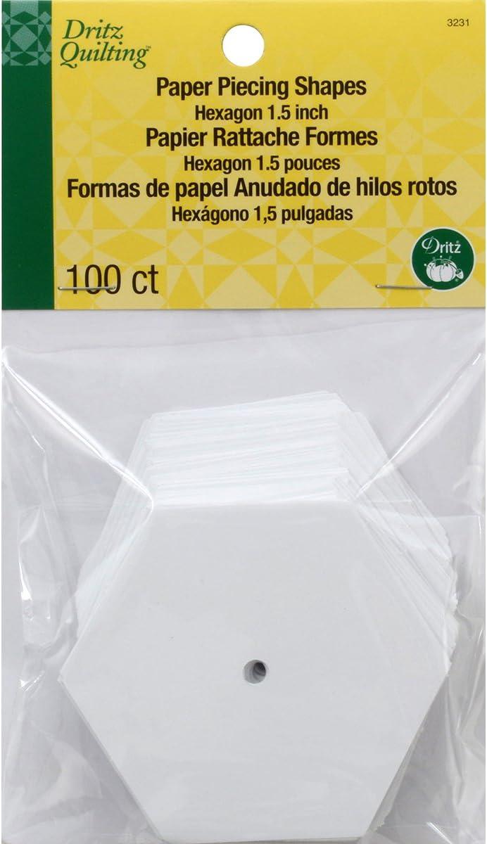 Dritz 3231 Paper Piecing Shapes, Hexagon, 1-1/2-Inch (100-Count)