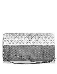 Stewart/Stand RFID Blocking Minimalist Stainless Steel Zipper Wristlet Wallet for Women, Silver