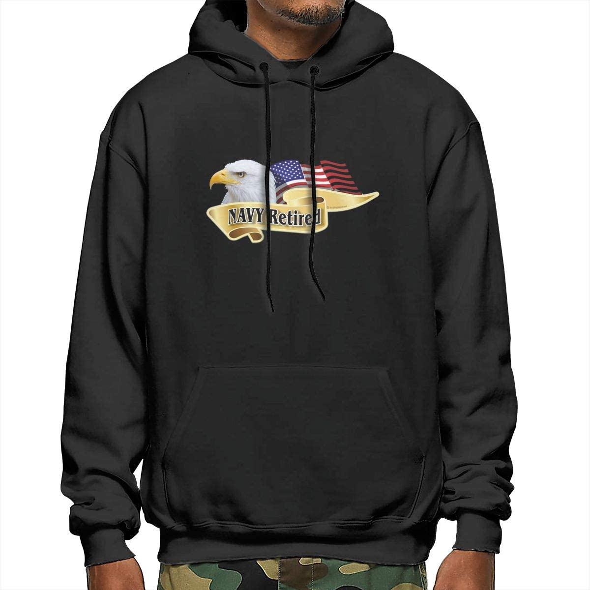 American Pride Series Navy Retired Bald Eagle Mens Hooded Sweatshirt
