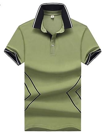 Yayu Men's Hipster Slim Fit Contrast Lapel Pattern Polo Shirts Green US XXS