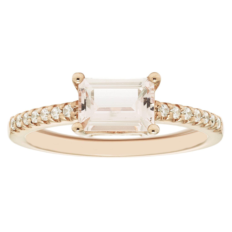 14K Rose Gold 5x7mm Emerald-Cut Morganite & 1/10 Cttw. Diamond Fashion Ring
