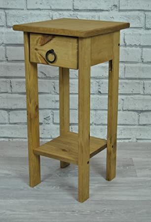 Rustic Pine Lamp Telephone Table With Pull Out Drawer