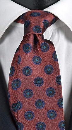Corbata hombre color ladrillo con fantasía azul y verde Exclusive ...