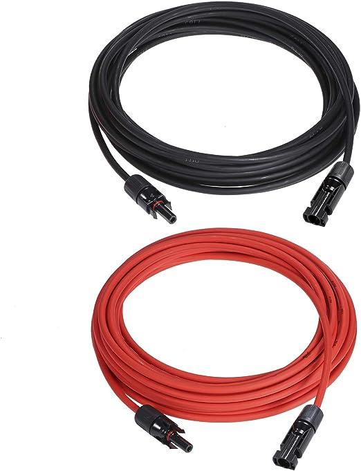 rouge 10AWG c/âble dextension de panneau solaire c/âble avec connecteur MC4 femelle et m/âle /étanche Kit de kit adaptateur de panneau solaire 1 paire 25//40//50//60//100 pieds noir