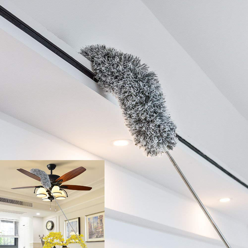 Dusters for Cleaning, Microfiber Head Bendable Washable Duster, RoseFinch Fang Dusting Wand Extendable 32'' - 98'', Wet or Dry Use by RoseFinch Fang