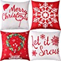 Jetec 4 Pieces Pillow Case Throw Cushion Cover Cotton Linen Pillow Decorations for Halloween Thanksgiving Christmas Autumn, 18 by 18 inch