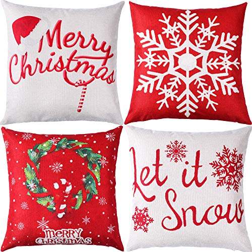 Jetec 4 Pieces Christmas Pillow Cover Cotton Linen Decorative Pillowcases Christmas Snowflake Sofa Cushion Cover for Home Christmas Favor, 18 by 18 Inches