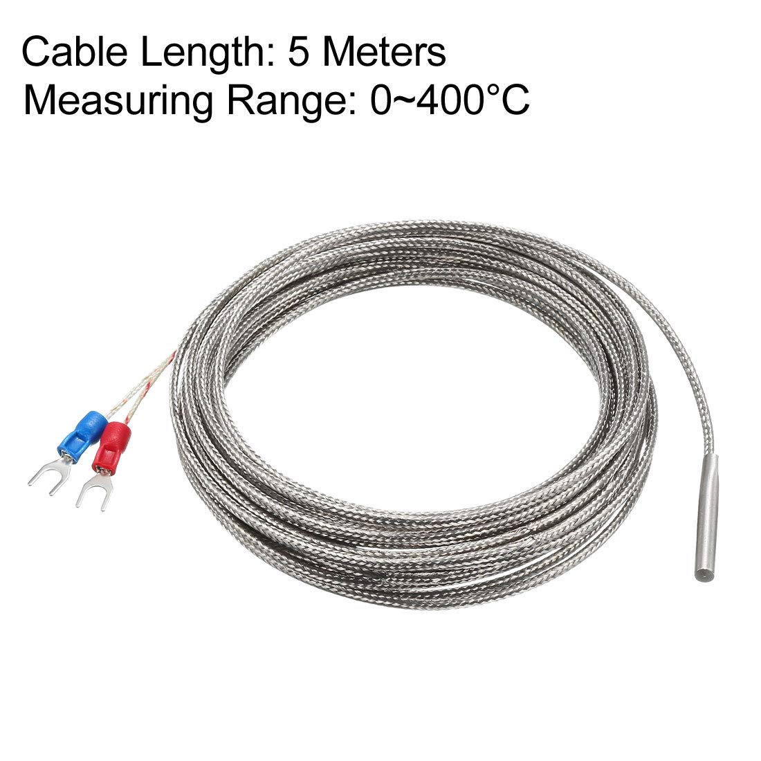 uxcell K Type Thermocouple Spring Type Temperature Sensor Probe 1.5M Cable 5mmx150mm Probe 32~1112/°F M8 Thread 0~600/°C