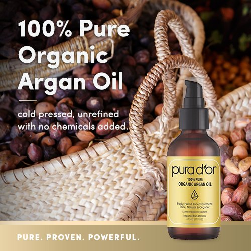 Natural skin care. PURA D'OR (4 oz) Organic Moroccan Argan Oil 100% Pure Cold Pressed, USDA Certified Organic Anti-Aging Moisturizer Treatment for Face, Hair, Skin & Nails, Men & Women. #skincare #skincareroutine #skincaretips
