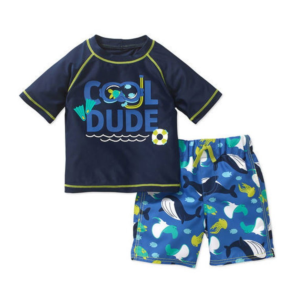 Child Of Mine By Carters Baby Toddler Boys Short Sleeve Rash Guard Swim Set Cool Dude Blue