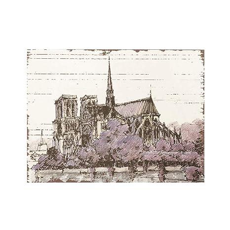 Paris Notre Dame Travel Poster Minimalistic Art Deco