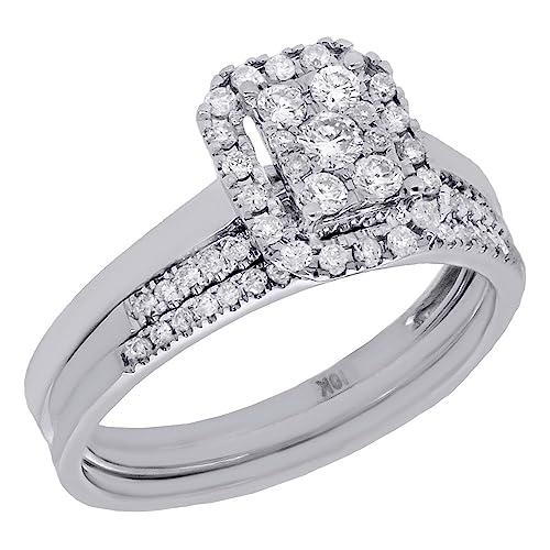 10 K oro blanco redondo diamantes rectangular Halo 3 piezas Anillo de compromiso y banda de