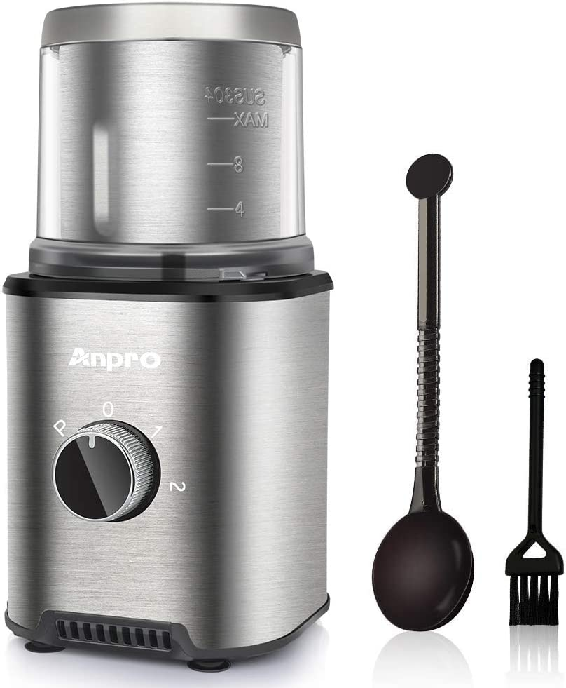 Anpro Coffee Grinder Electric 300W, Automatic Coffee Grinder with 100g Capacity Detachable Stainless Steel Container, Electric Grinder for Coffee Beans/Nuts/Spices