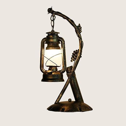 Pointhx - Lámpara de mesa de estilo retro, de hierro forjado ...