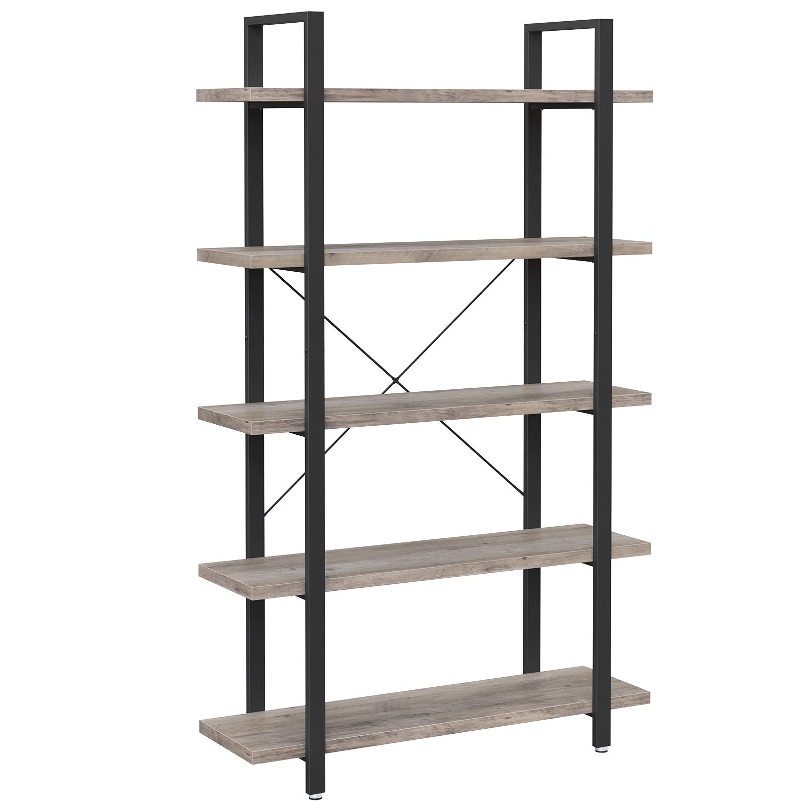 VASAGLE Bookshelf, 5-Tier Industrial Stable Bookcase, Storage Rack, Standing Shelf, Easy Assembly, Living Room, Bedroom, Office, Greige and Black LLS055B02