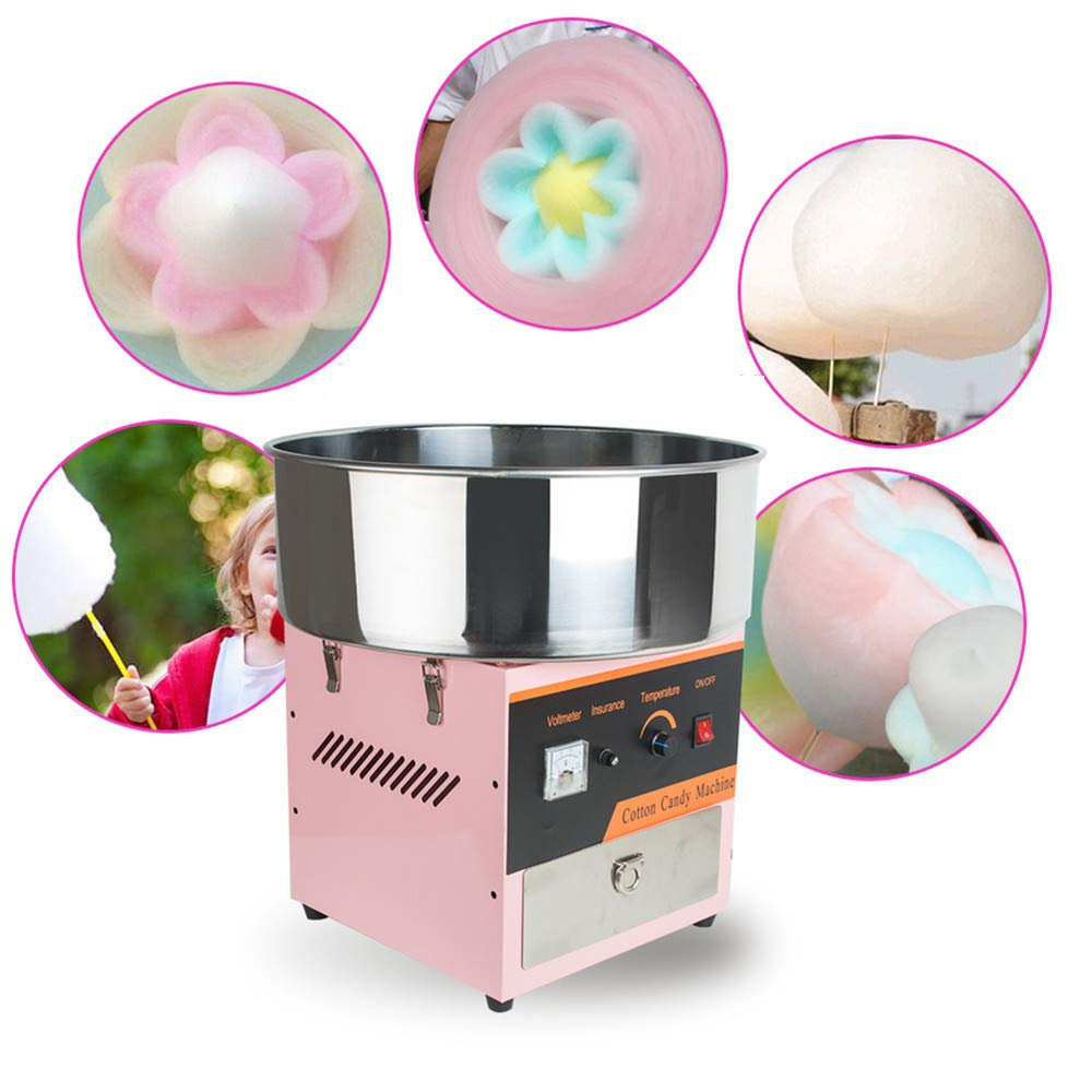 110V Food Grade Low Noise Large Stainless Steel Electric Cotton Candy Machine Commercial Carnival Party Pink,3-7 Days Delivery