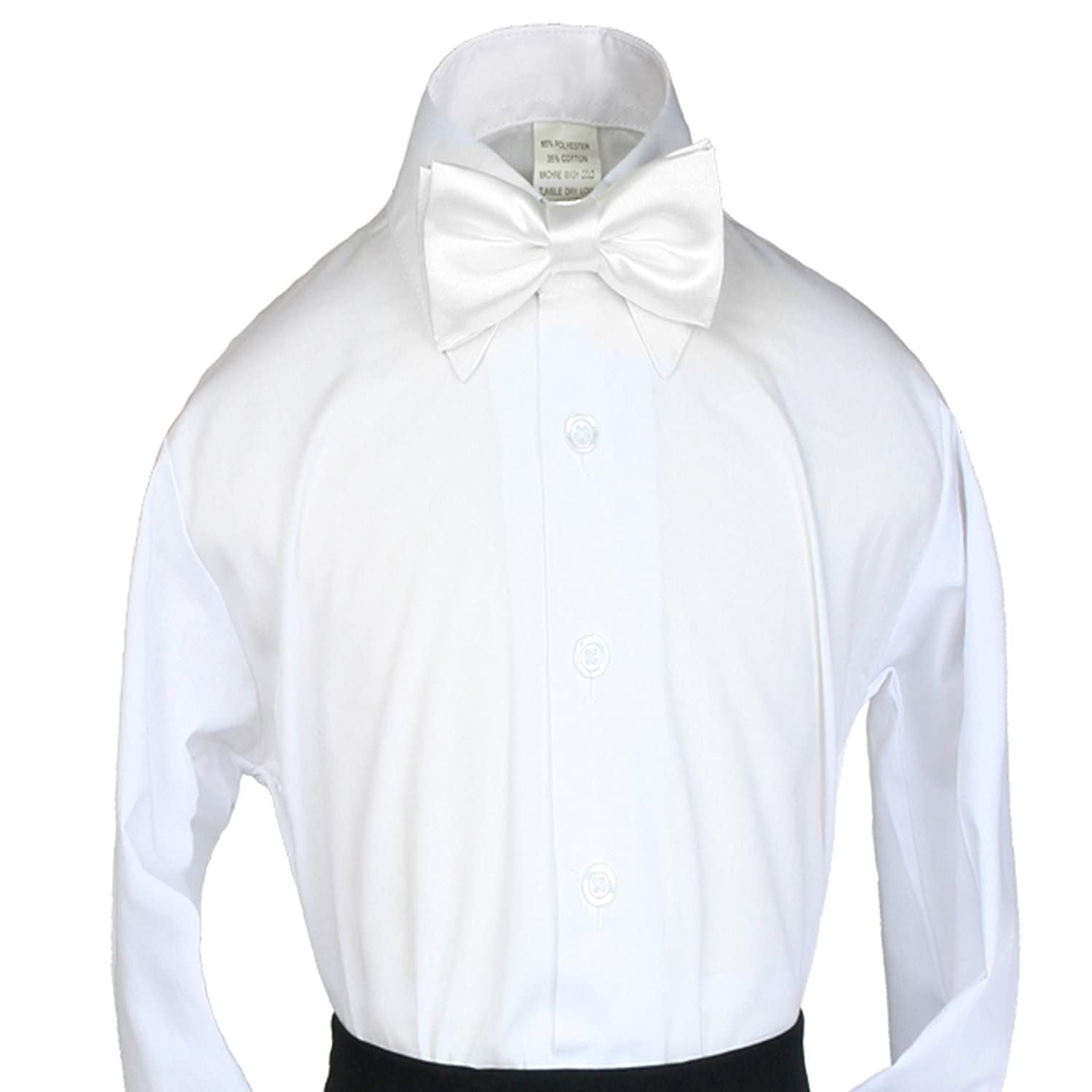 Unotux 2pc Boys Satin White Vest and Bow tie Set from Baby to Teen