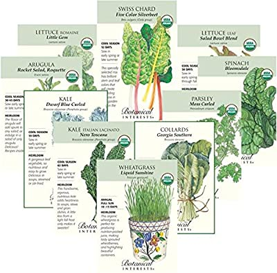 """Botanical Interests """"Power Greens"""" Organic and Heirloom Seed Collection - 10 Packets with Gift Box"""
