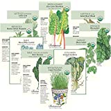 """Botanical Interests""""Power Greens"""" Organic and Heirloom Seed Collection - 10 Packets with Gift Box"""