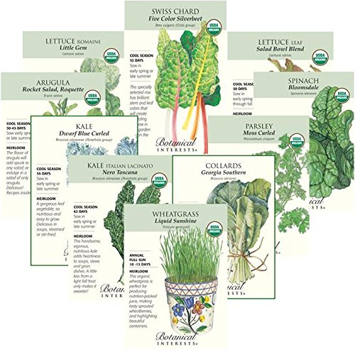 Botanical Interests''Power Greens'' Organic and Heirloom Seed Collection - 10 Packets with Gift Box