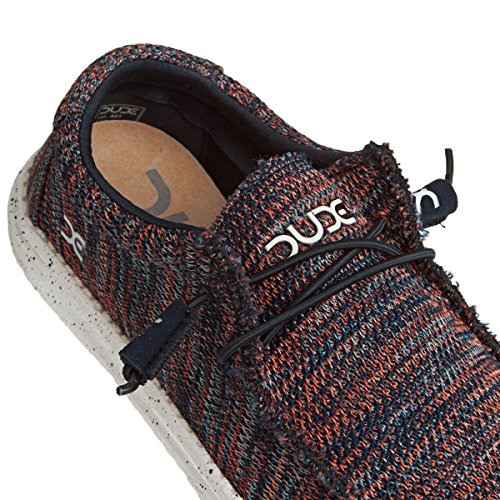 Dude Shoes Men's Wally Sox Knit Navy / Orange Blue