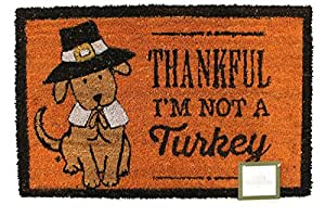 """Thankful I'm Not a Turkey"" Thanksgiving Welcome Coir Doormat Door Mat 18"" x 28"""