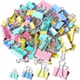 120Pcs Binder Clips Paper Clamps Assorted 4 Sizes, Paper Binder Clips Metal Fold Back Clips with Box for Office, School and Home Supplies, Multicolor
