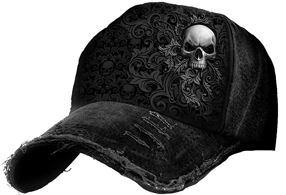 L Black Skull Scroll Baseball Caps Ditressed with Metal Clasp Spiral