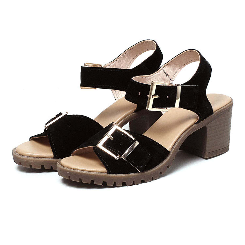 CJJC I Sandali delle Donne di Modo di colore Puro Impermeabile Open Toe Scarpe a Tacco Largo delle Signore delle Ragazze Summer Party Holidays Outwear Quotidiano, Regalo Femminile