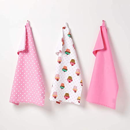 Homescapes Trapos de Cocina,Juego de 3 trapos 100% algodón, rosa y ...