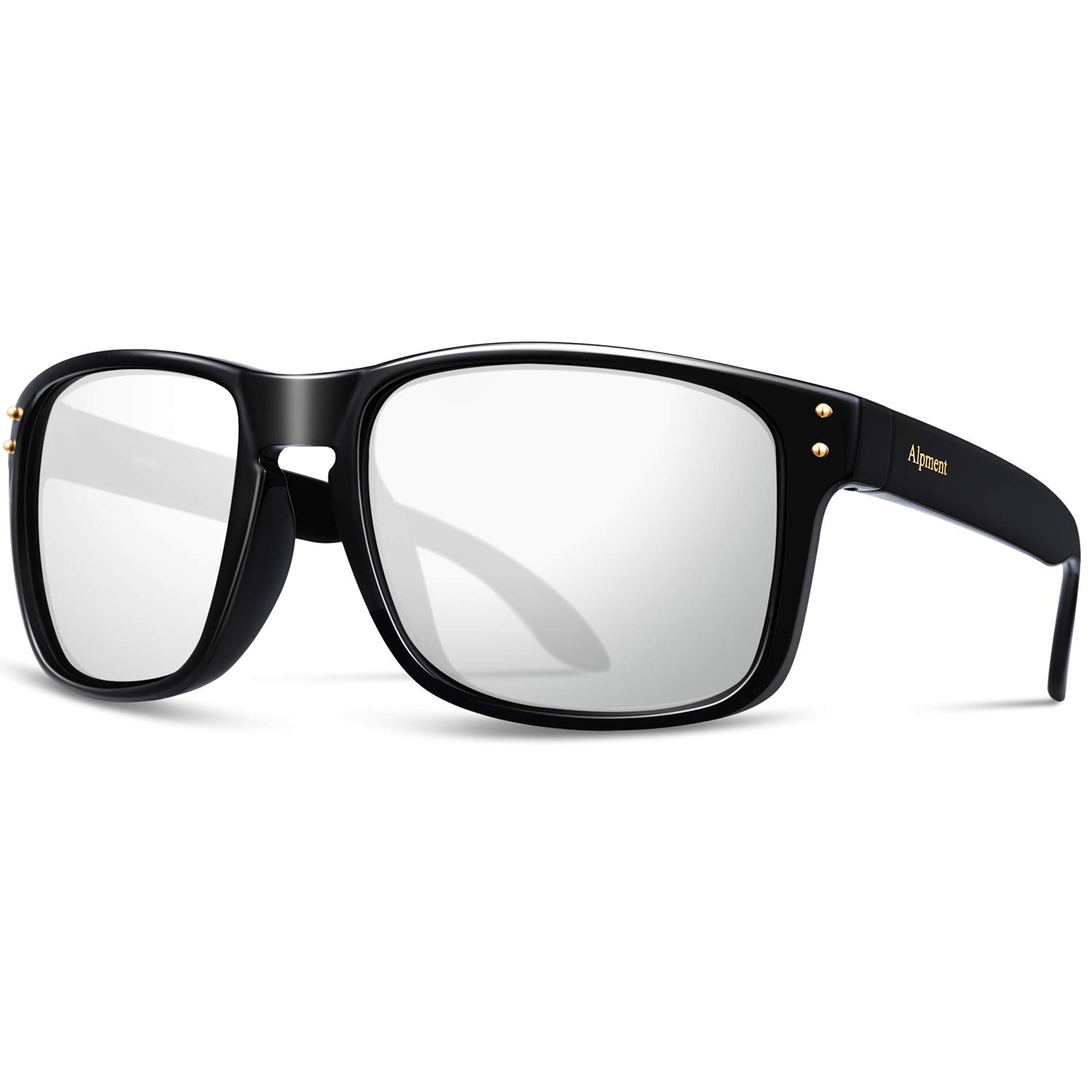 Bright Black&silver Alpment HD Polarized Sunglasses Lightweight Only 22g,UV400 Predection Driving Glasses Gift Case Multiple colors Choice